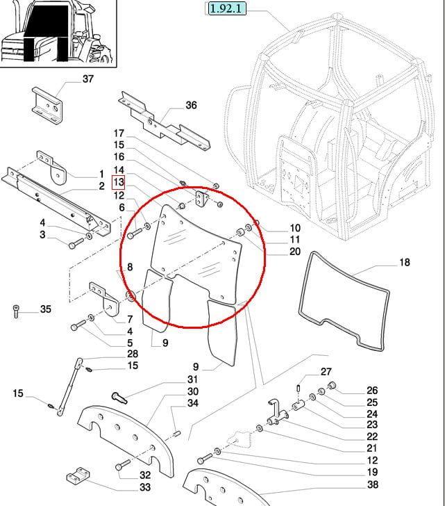 SZYBA PRZEDNIA UCHYLNA NEW HOLLAND CASE STEYR 82032042