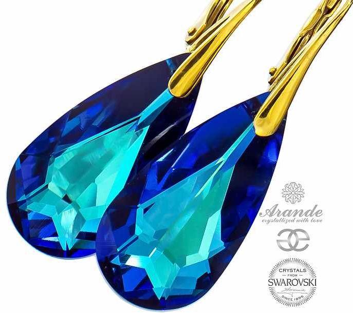 Kryształy kolczyki BERMUDA BLUE ZŁOTE SREBRO