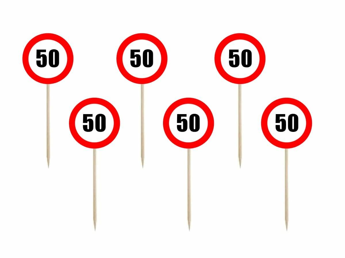 Piki Znak zakazu na 50 urodziny - 7 cm - 6 szt.