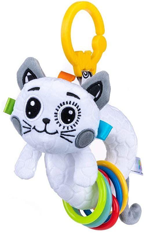 Balibazoo 80182 Rattle Cat, grzechotkowa zabawka dla niemowląt, zabawka sensoryczna, bezpieczny pluszowy zwierzak, przyjaciel niemowląt, bezpieczna zabawka od 0 miesięcy