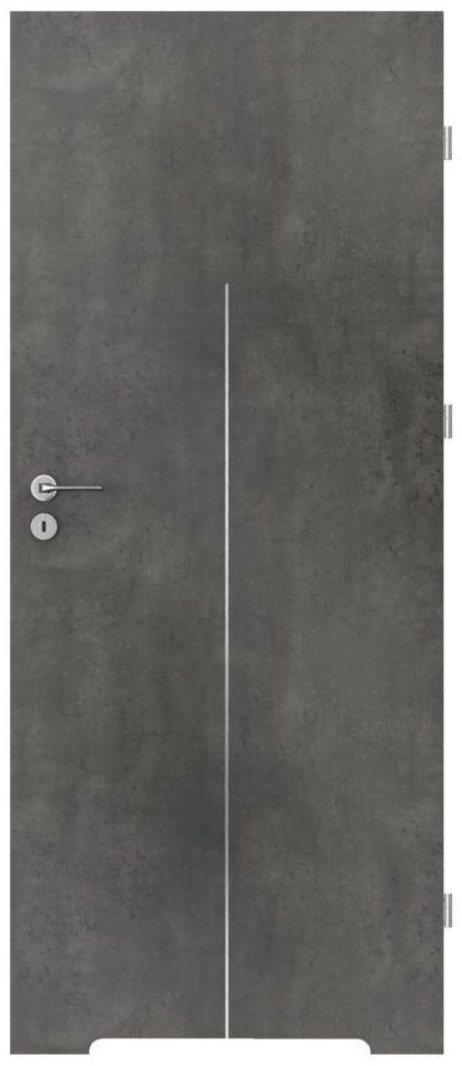 Skrzydło drzwiowe z podcięciem wentylacyjnym LINE Beton ciemny 90 Prawe PORTA