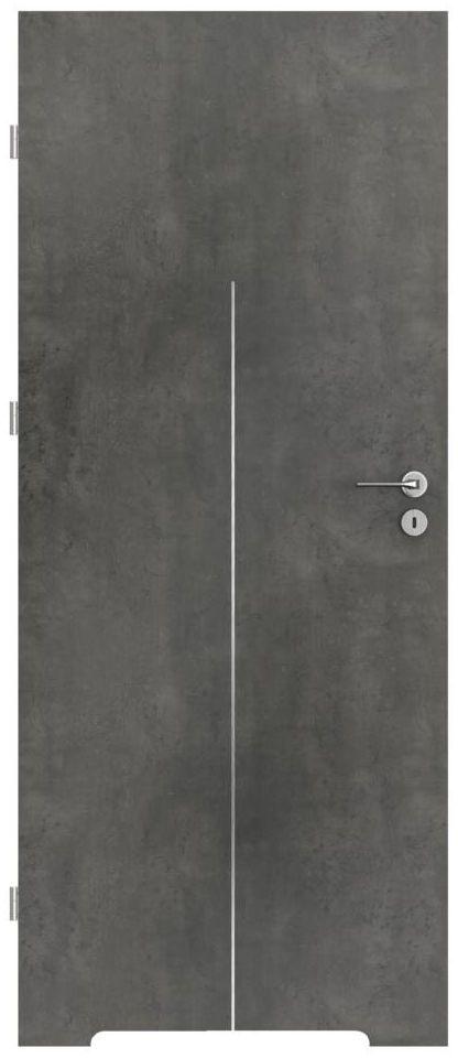 Skrzydło drzwiowe z podcięciem wentylacyjnym LINE Beton ciemny 80 Lewe PORTA