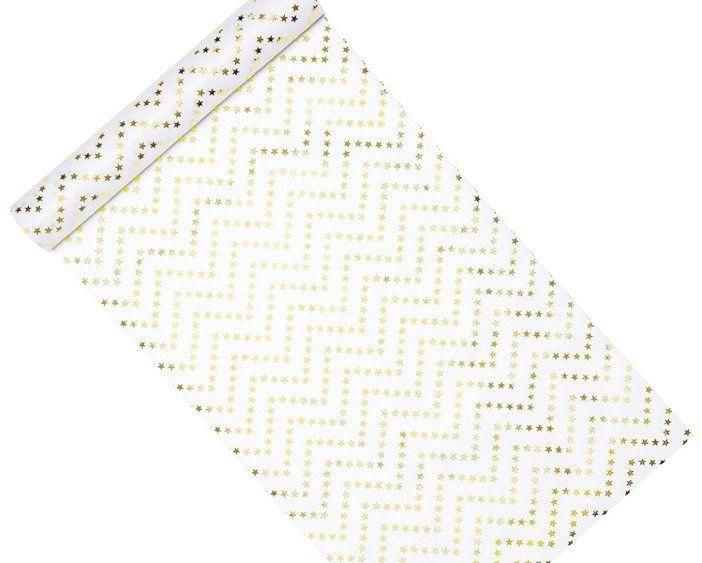 Flizelina dekoracyjna biała w złote gwiazdki 36cm 1 rolka 9m FLIN1-36-019ME