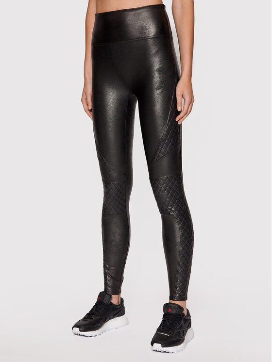 Legginsy Faux Leather Quilted 20248R Czarny Slim Fit