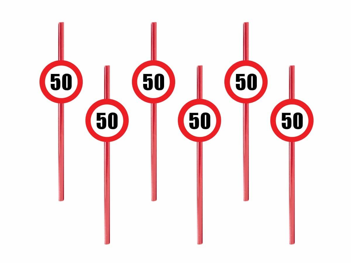 Słomki urodzinowe Znak Zakazu na 50 urodziny - 6 szt.