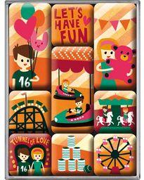 Nostalgic Art 9-częściowy zestaw magnesów na tablicę magnetyczną, Happy Together - Let''s Have Fun, 9 sztuk