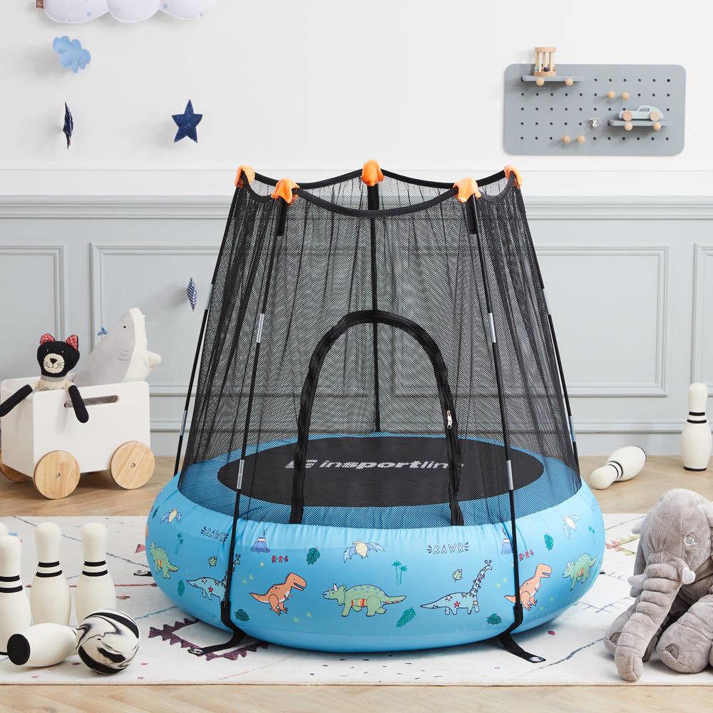 Trampolina dla dzieci pompowana z siatką Nufino 120 cm Insportline niebieska