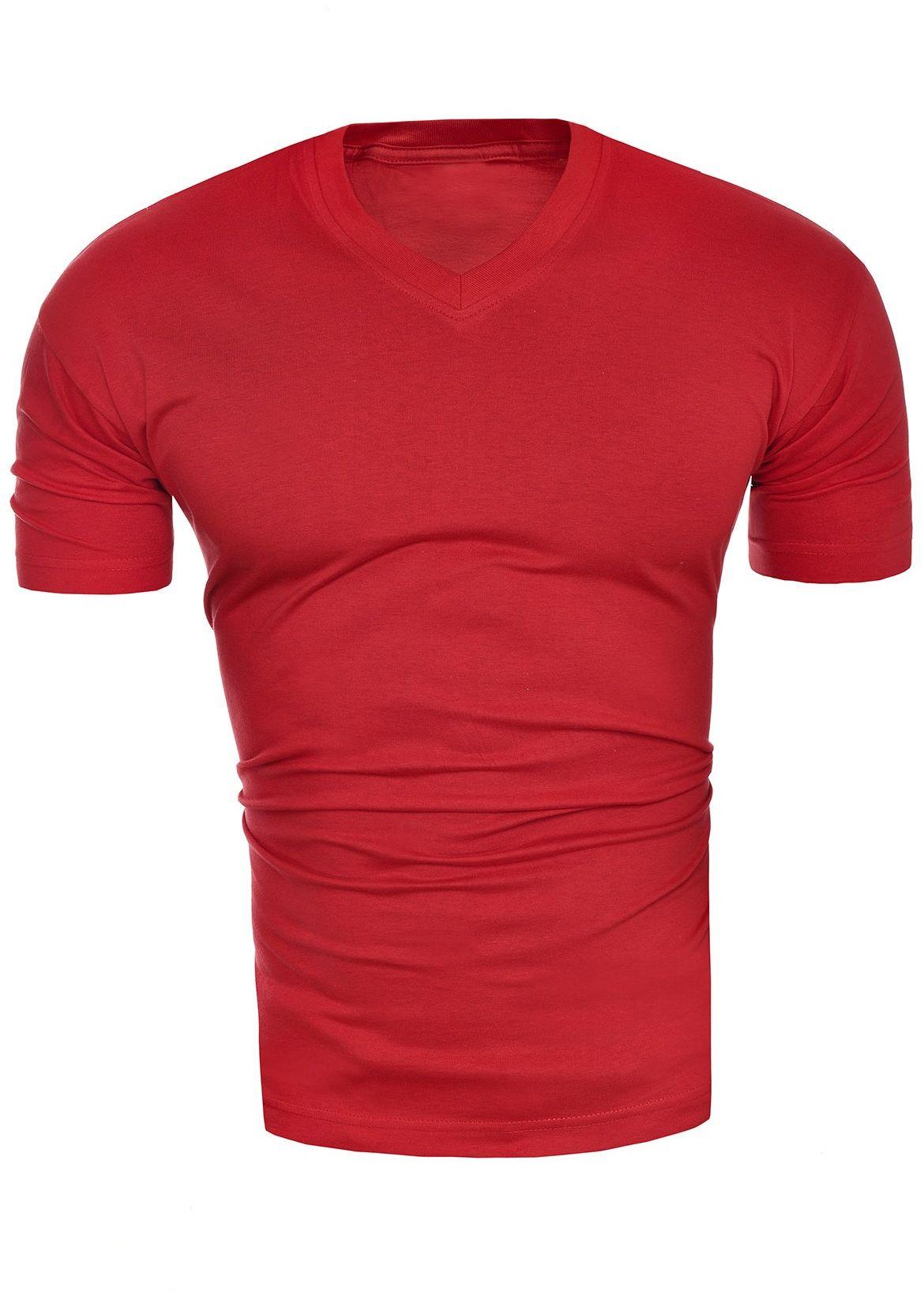 Męska koszulka t-shirt v-neck - czerwona