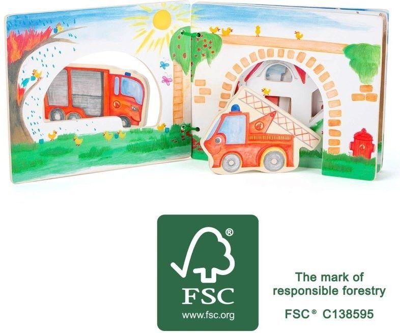 Drewniana książka dla dzieci z figurkami Straż pożarna 12040-SFD-Small Foot Design, zabawki edukacyjne