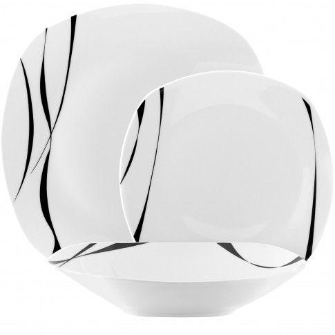 Komplet Talerzy Porcelanowych Saxo Biały Na 6 Osób (18 El.) - /W120h/