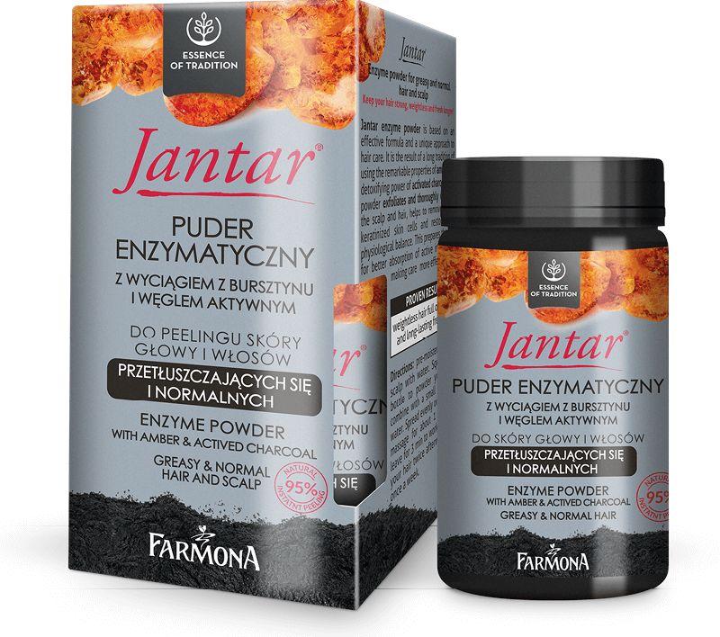 Jantar Puder enzymatyczny z wyciagiem z bursztynu i węglem do skóry głowy i włosów, 30g