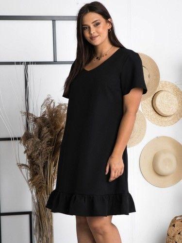 Sukienka wieczorowa z falbanką trapezowa MASZA czarna