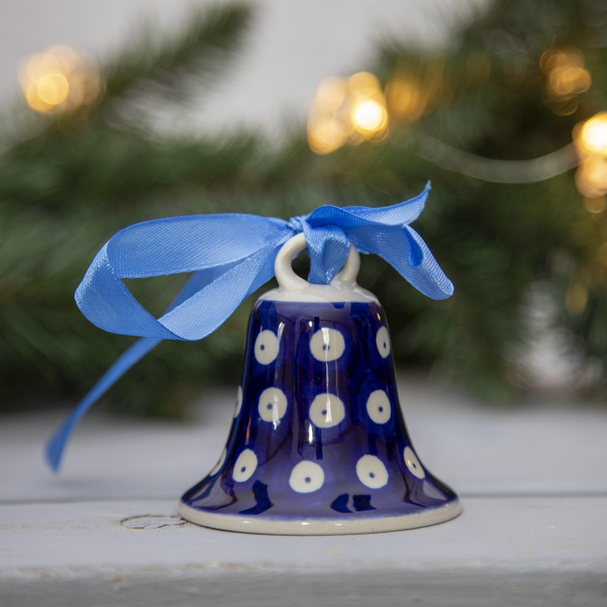 Dzwonek mały z kokardą, ozdoba choinkowa, Bolesławiec