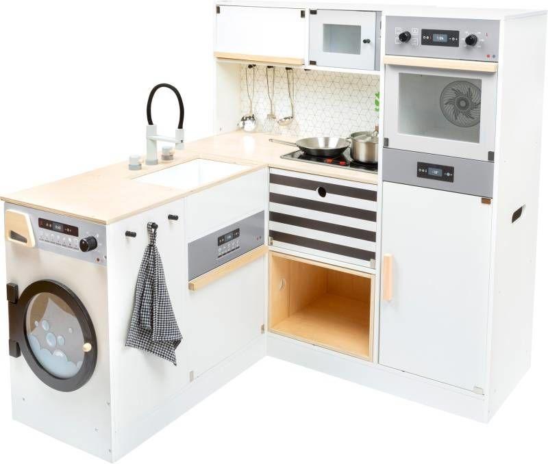 Drewniana kuchnia dla dzieci z pralką Moduły XL 11464-Small Foot, zabawki kuchenne