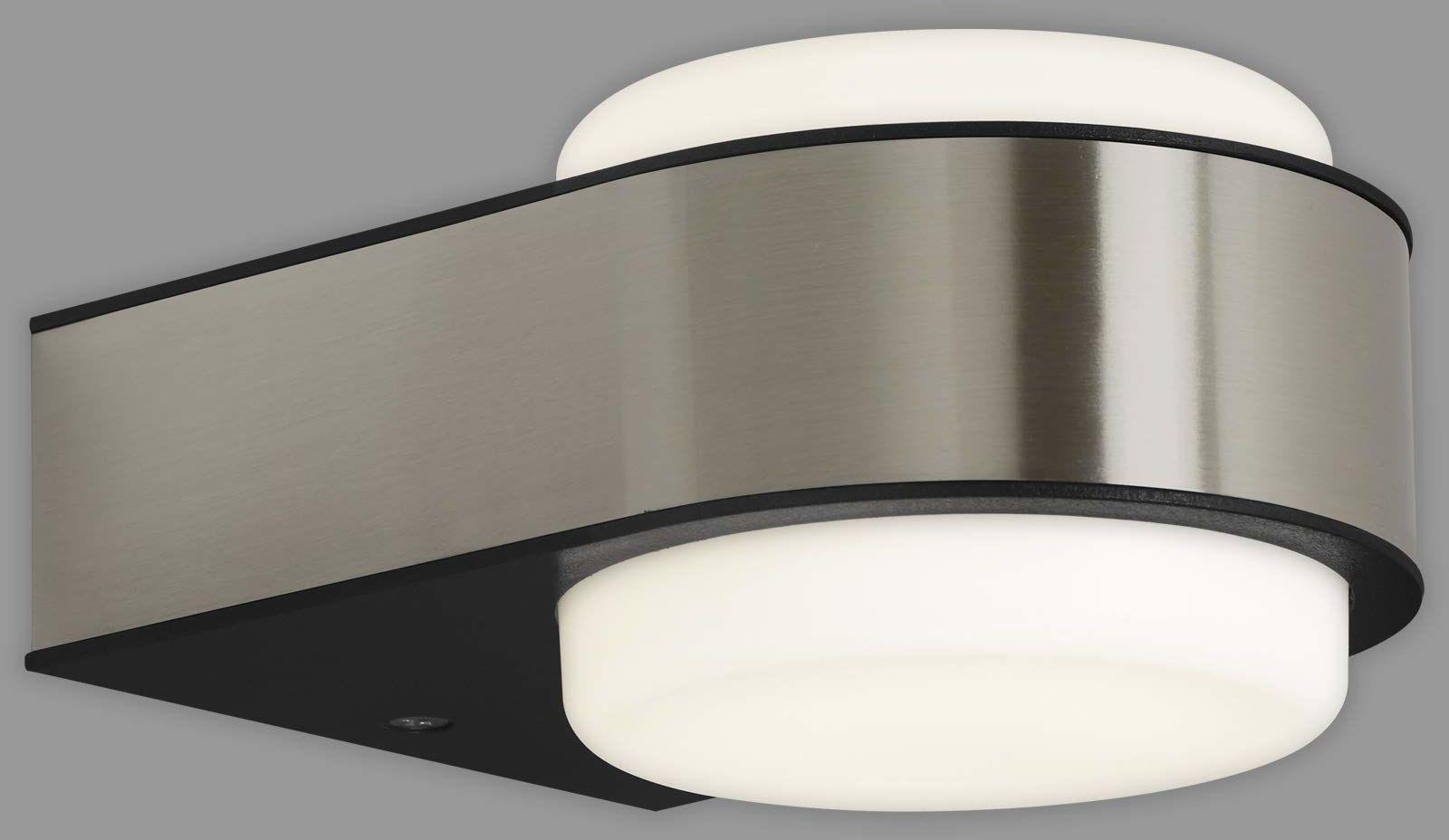 Briloner Leuchten - Lampa zewnętrzna LED, lampa zewnętrzna, lampa ścienna zewnętrzna, IP44, 6,5 W, 650 lumenów, 4000 kelwinów, stal nierdzewna, 144 x 104 x 69 mm (dł. x szer. x wys.)