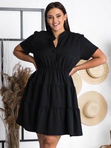 Sukienka wieczorowa z falbanek rozkloszowana ALEKSANDRA LETNIA czarna