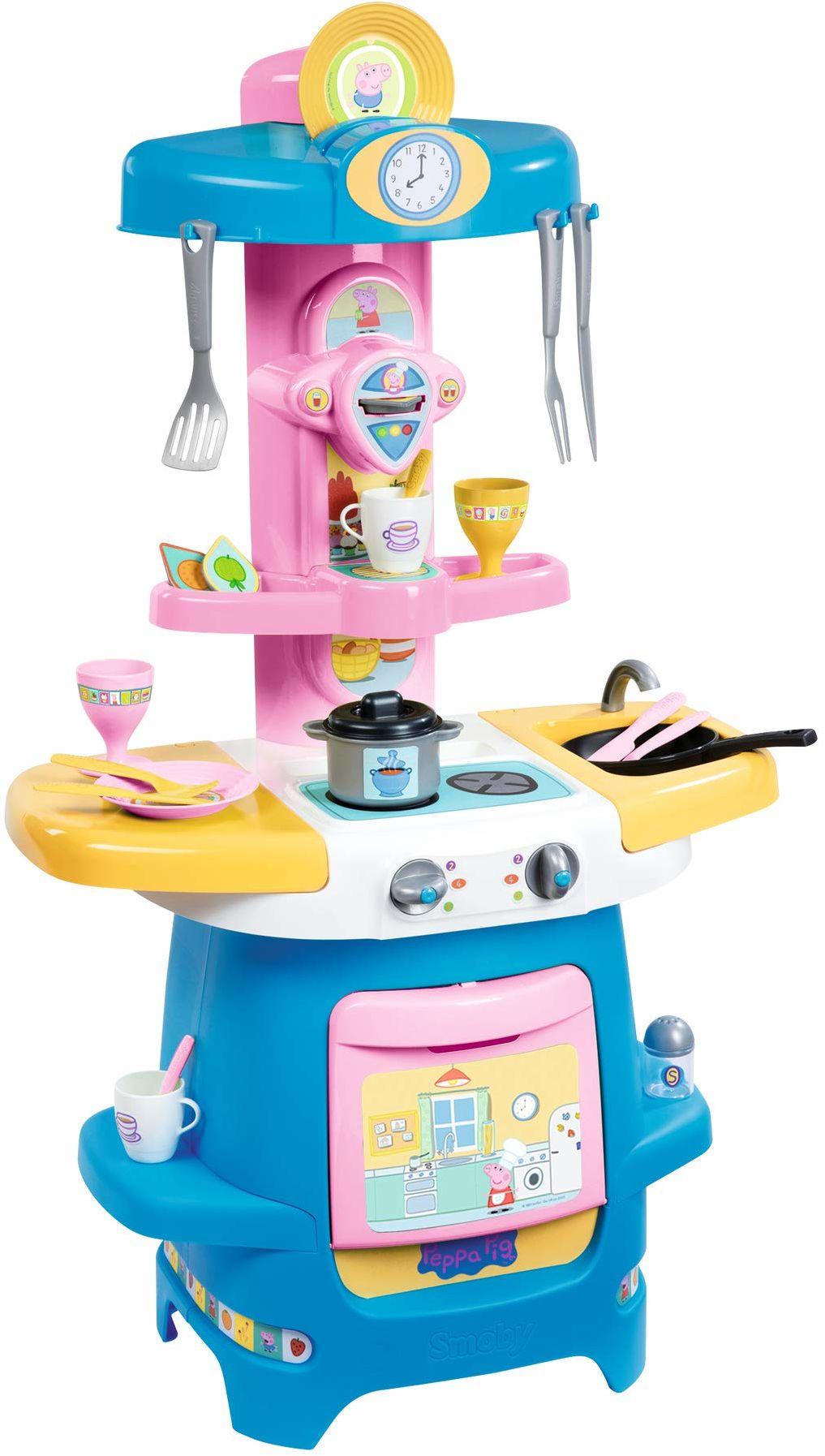 Smoby 310714  Peppa Wutz Cooky kuchnia dla dzieci z dużą ilością naczyń i akcesoriów, kuchenka, piekarnik, zlewozmywak, ekspres do kawy, dla dzieci od 18 miesięcy, różowy