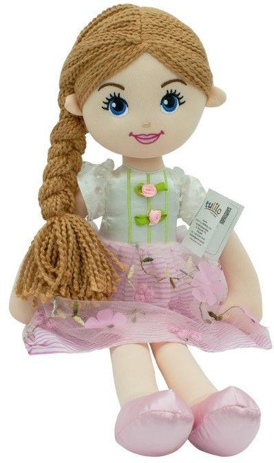 Lalka Emilka różowa sukienka, brazowe włosy