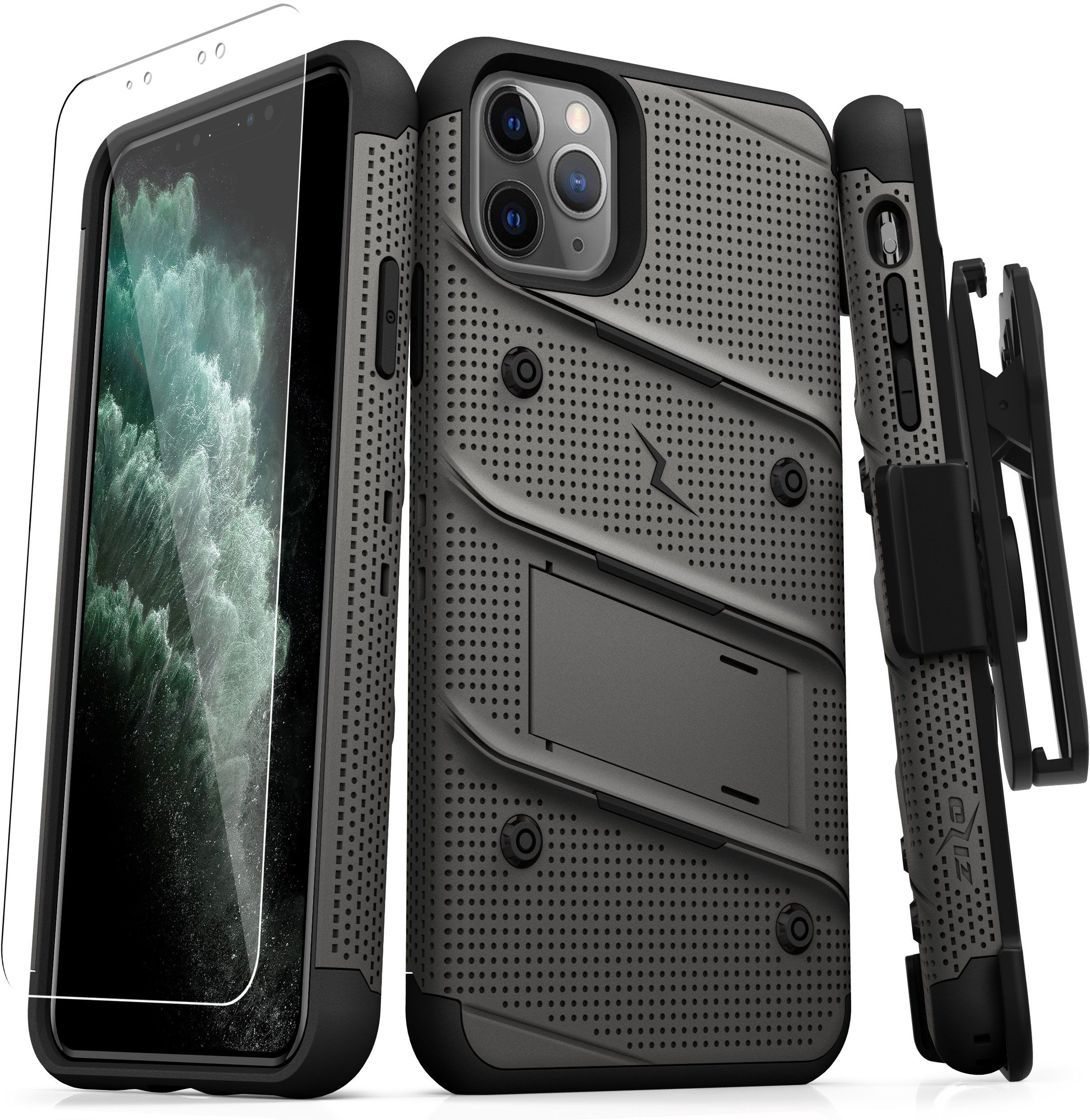 Zizo Bolt Cover Etui Pancerne do iPhone 11 Pro Max ze Szkłem 9H na Ekran + Podstawka & Uchwyt do Paska (Gun Metal Gray & Black)