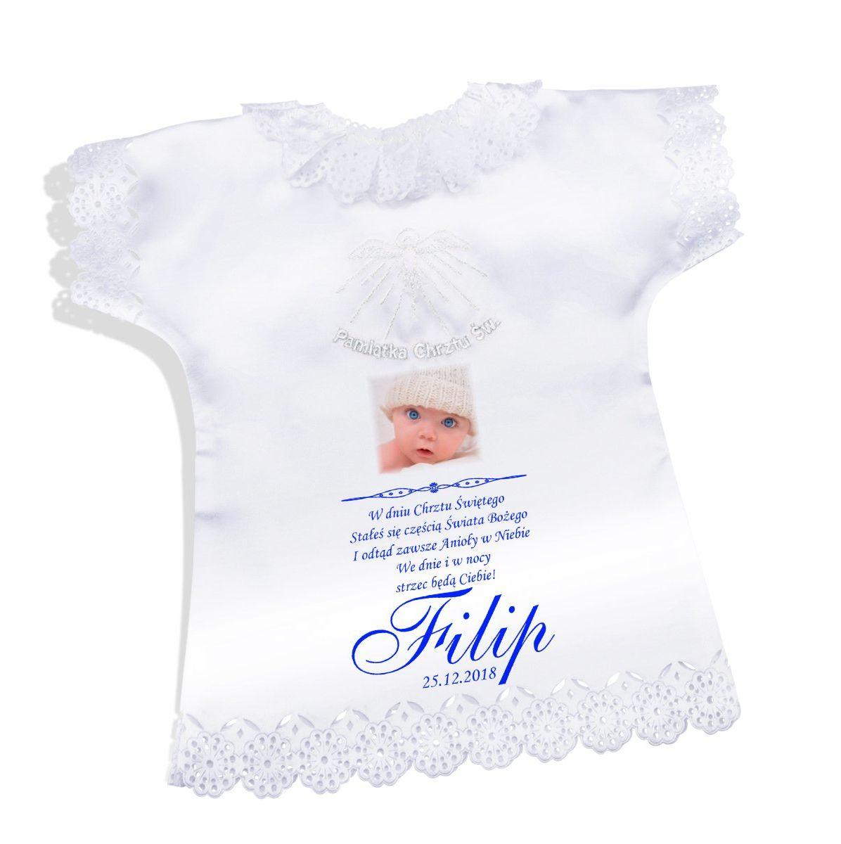 Koszulka szatka na chrzest biała satynowa Pamiątka chrztu ze zdjęciem - biały Duch Święty