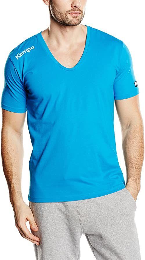 Kempa Męski T-shirt Core kołnierzyk V, niebieski kempa, XL