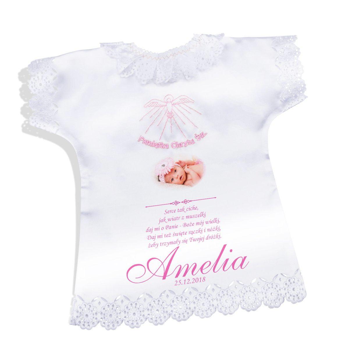 Koszulka szatka na chrzest różowa satynowa Pamiątka chrztu ze zdjęciem