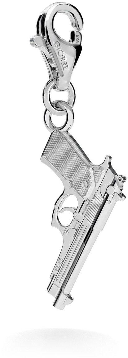 Srebrny charms zawieszka beads pistolet beretta, srebro 925 : Srebro - kolor pokrycia - Pokrycie platyną, Wariant - Charms