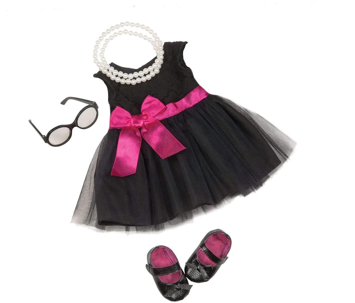 Our Generation 44582 Audrey Dress & Pearls Deluxe Outfit, czarny