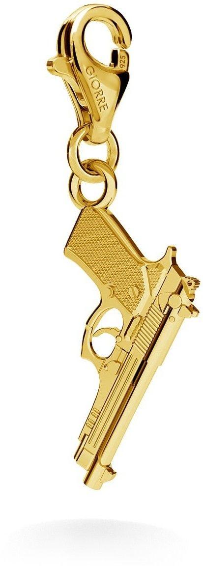 Srebrny charms zawieszka beads pistolet beretta, srebro 925 : Srebro - kolor pokrycia - Pokrycie żółtym 18K złotem, Wariant - Charms