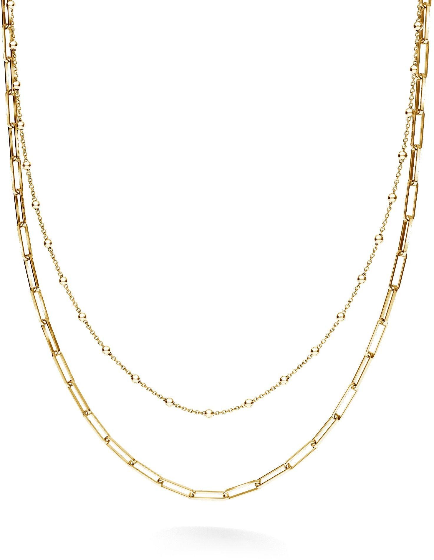 Srebrny łańcuszek kulkowy do wpinania charmsów, srebro 925 : Srebro - kolor pokrycia - Pokrycie żółtym 18K złotem