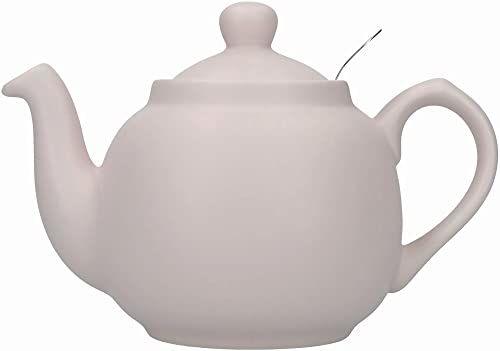 Londyńska ceramika wiejska mały czajniczek z zaparzaczem w pudełku upominkowym, ceramiczny, skandynawski różowy, 2 filiżanki (600 ml)