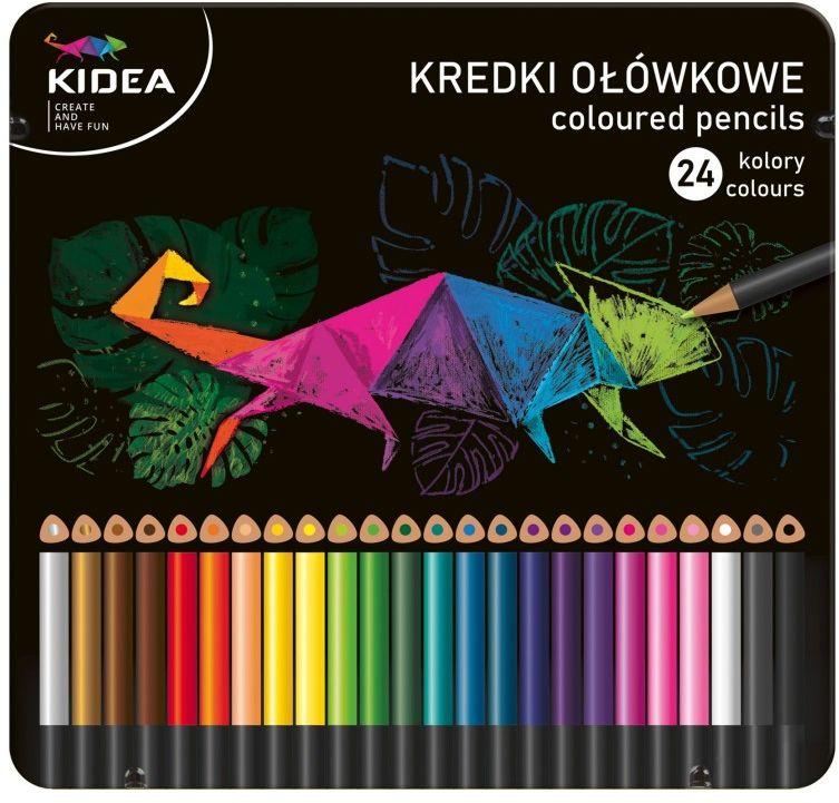 Kredki ołówkowe 24 kolory w metalowym op Kidea 7625 KTMP24KA