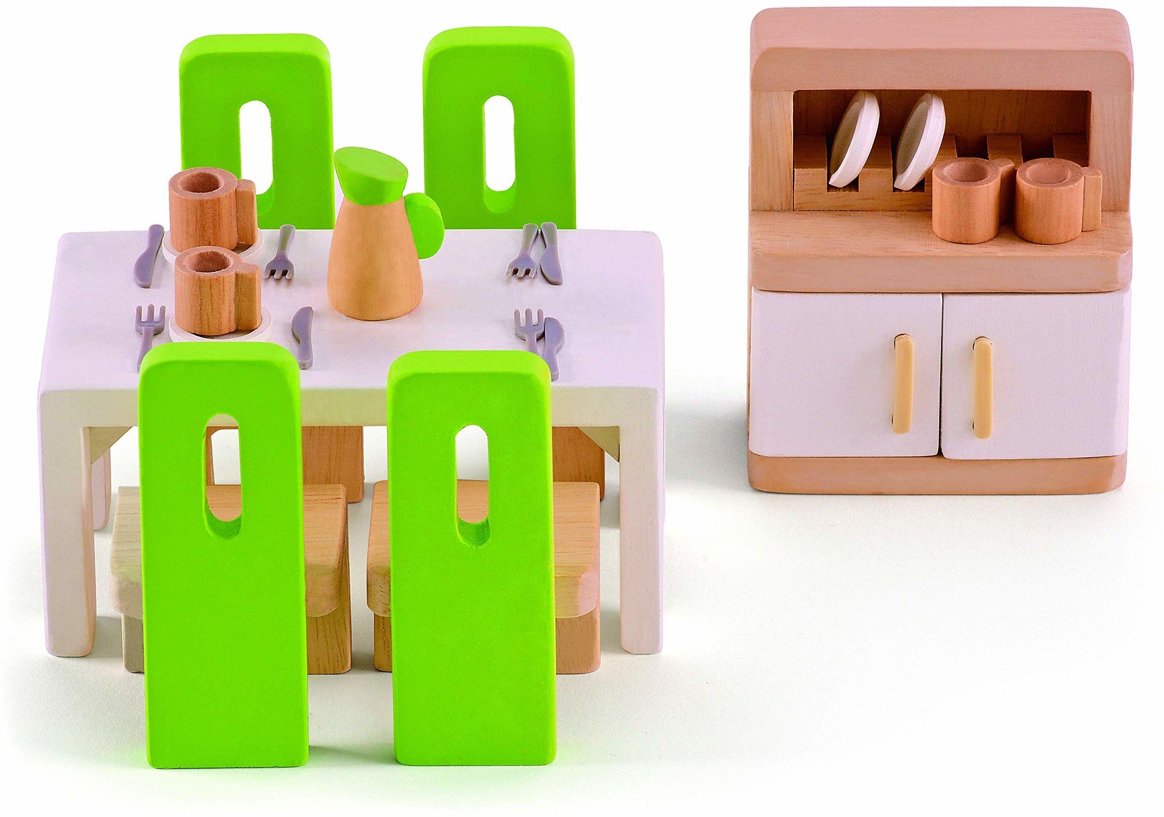 Hape E3454 jadalnia  drewniane akcesoria do domu dla lalek