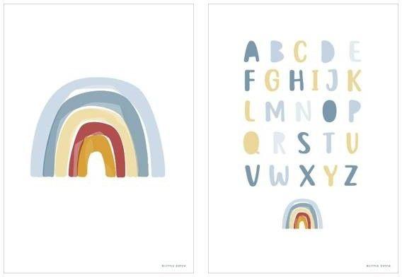 Little Dutch - Little Dutch Plakat a3 - Tęcza Alfabet Błękit Pw10320040