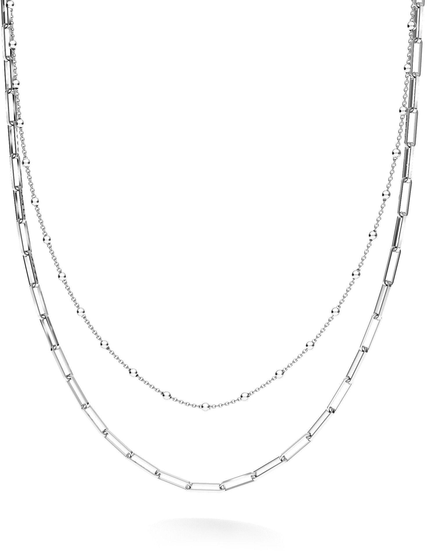 Srebrny łańcuszek kulkowy do wpinania charmsów, srebro 925 : Srebro - kolor pokrycia - Pokrycie platyną