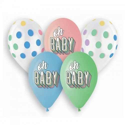 Balony Premium Oh Baby PasteLove groszki, 5 szt.
