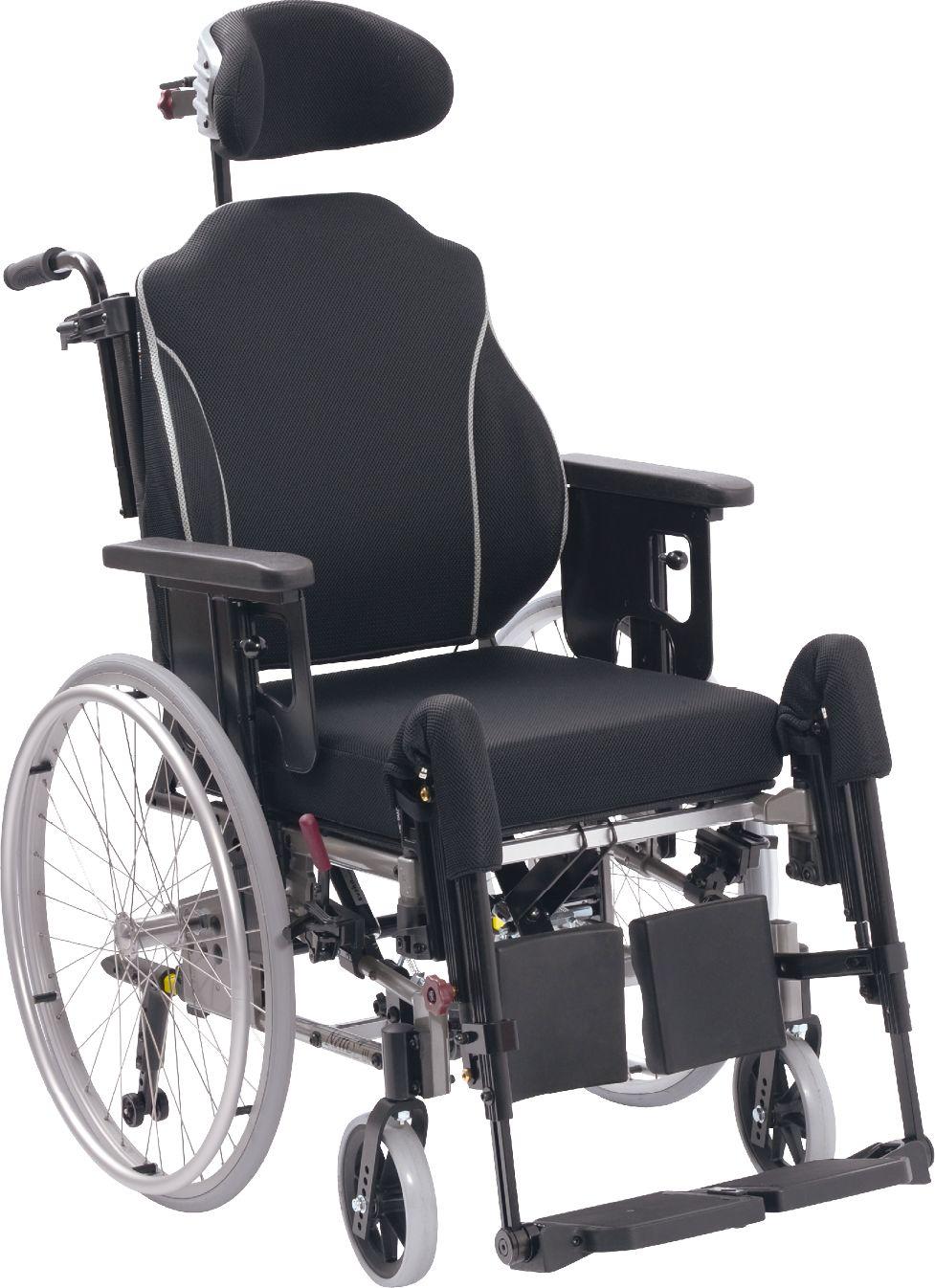 Wózek inwalidzki specjalny z amortyzowaną ramą i przesuwaną płytą siedziska - duży zakres regulacji, komfortowa poduszka Netti UNO, oddychająca tapice