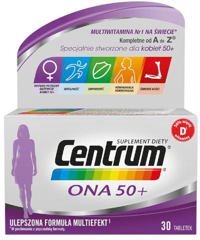 Centrum Ona 50+ Multiefekt witaminy i minerały dla kobiet 30 tabletek [UMF]