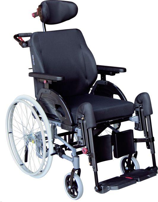 Ekonomiczny wózek inwalidzki ze zintegrowanym oparciem - lekka i wąska konstrukcja, higieniczna tapicerka Easy Care, komfortowy podnóżek (NETTI 4U CE