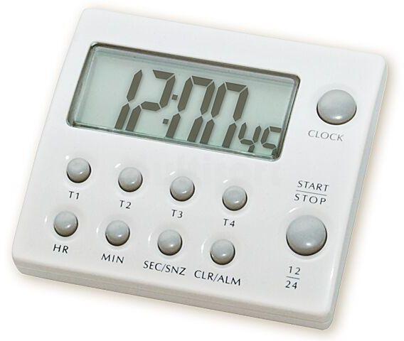 Minutnik 99h LCD z 4 pamięciami, budzikiem i zegarem