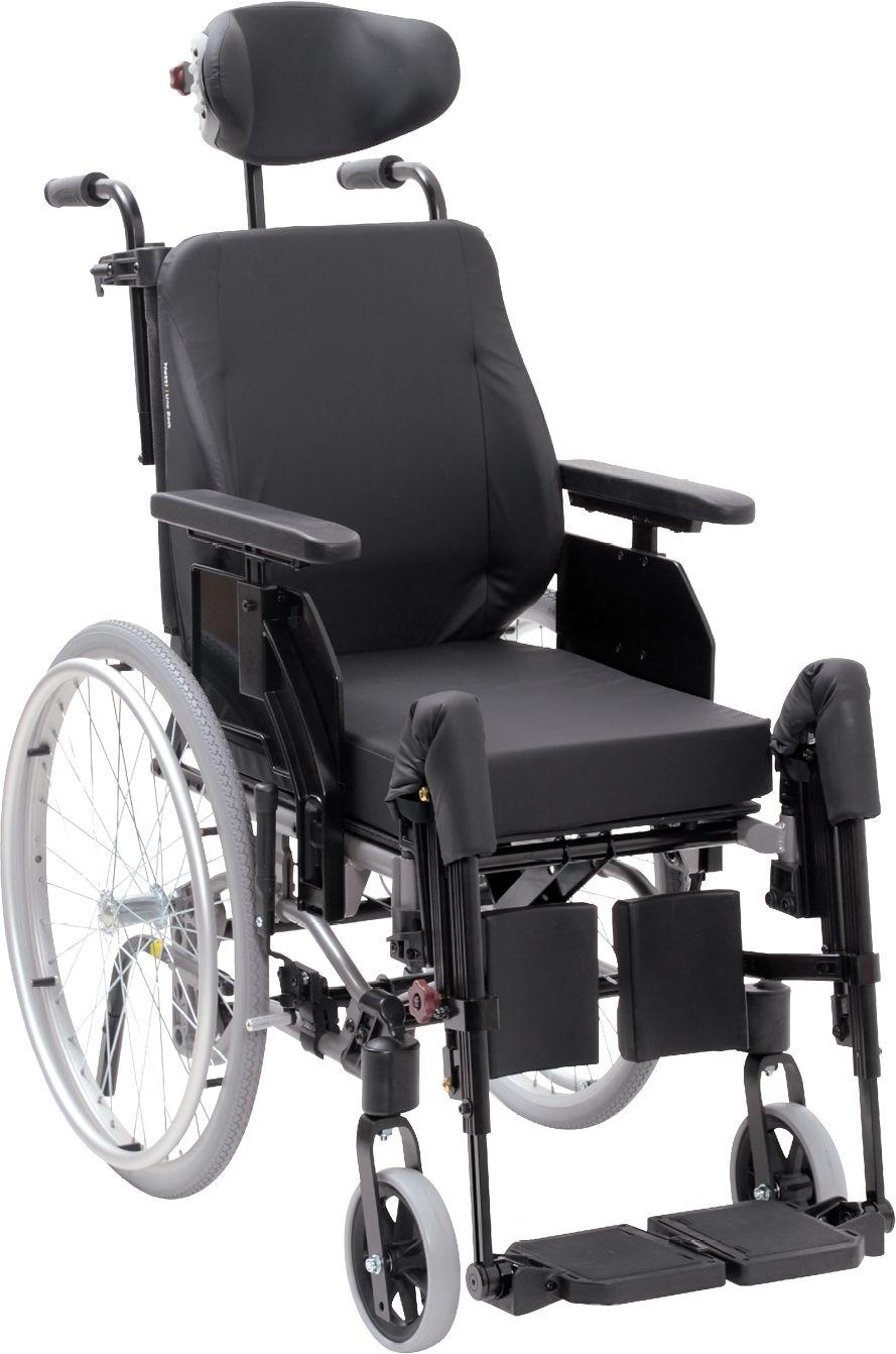 Ekonomiczny wózek inwalidzki specjalny o lekkiej i wąskiej konstrukcji - płynna regulacja kąta siedziska i oparcia, podnóżek z podparciem łydek (NETTI