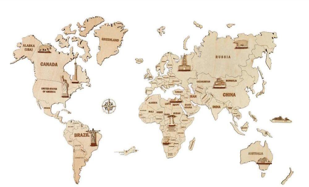 Mapa świata 3D - drewniane puzzle dekoracja ścienna