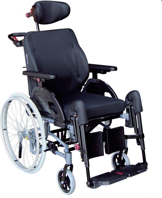 Zaawansowany wózek inwalidzki specjalny z funkcją pochylenia - wąska konstrukcja, komfortowe poduszki siedziska i oparcia Netti UNO, duży zakres regul