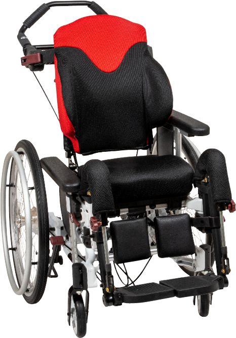 Dziecięcy wózek inwalidzki specjalny o konstrukcji krzesła - profilowana poduszka oparcia Netti Smart, możliwość regulacji wraz ze wzrostem dziecka -