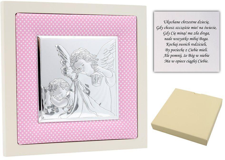 Obrazek srebrny Anioł Stróż w różowej ramce pamiątka chrztu na chrzest Dedykacja