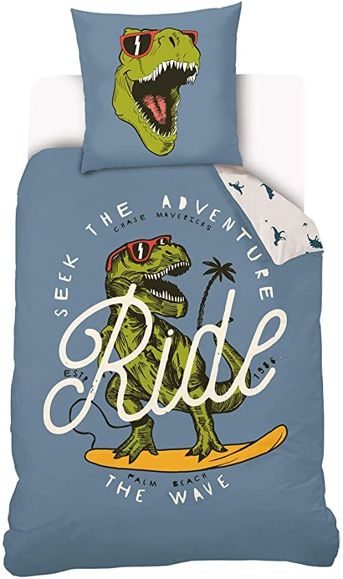 """Poszewka na kołdrę z dinozaurami Cool """"Ride"""" dla dzieci, 140 x 200 cm + poszewka na poduszkę 63 x 63 cm  pościel dwustronna  niebieska  100% bawełna"""