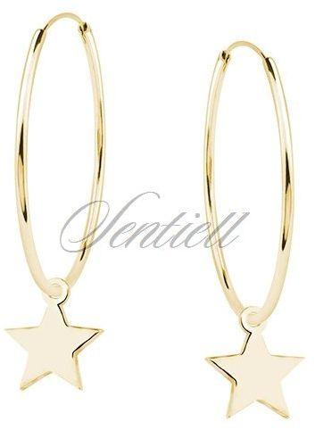 Srebrne kolczyki pr.925 pozłacane kółka z gwiazdkami - Żółte złoto 50 mm