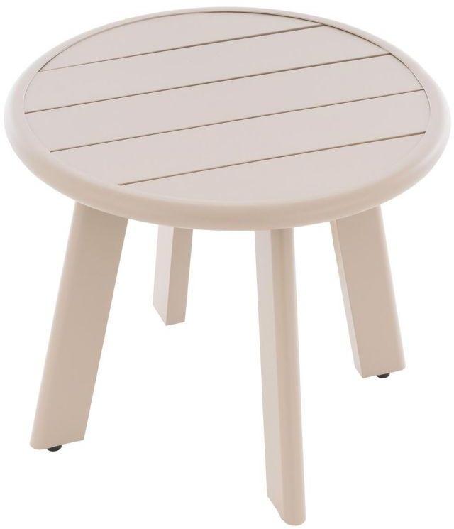 Okrągły aluminiowy stolik, beżowy