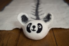 Mata wełniana, dywanik Panda