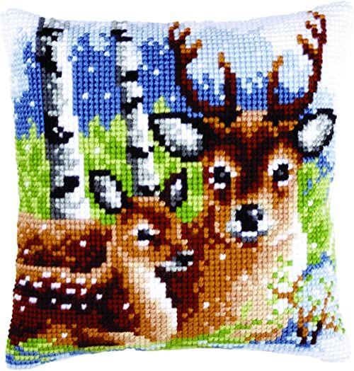 Vervaco poduszka z haftem krzyżykowym z rodziny jelenia